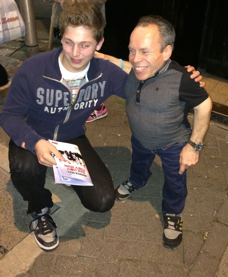 The very generous and talented Warwick Davis giving time and career advice to this aspiring young actor @MaxReiterActs