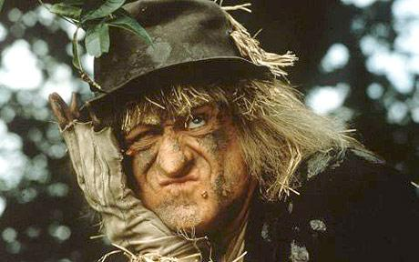 Worzel Gummidge – a scarecrow character from a series of children's books by Barbara Euphan Todd, played by Jon Pertwee in the 1979-1981 ITV series. Wurzel could change his head for different occasions – one of them was his 'thinking head'.